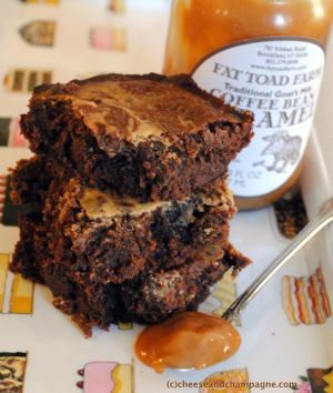 Goat cheese brownies with Fat Toad Caramel