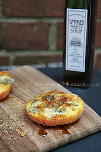 Smoked Maple Blue Cheese Peaches | CheeseandChampagne.com