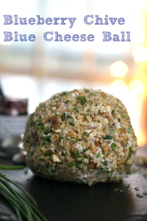 blueberry chive blue cheese ball | cheeseandchampagne.com