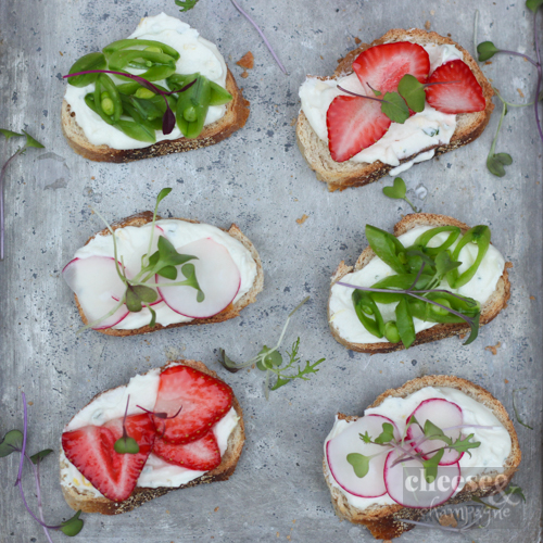 chèvre with radish, peas and strawberries | cheeseandchampagne.com